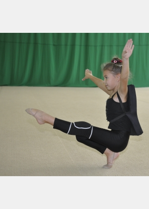 "Leggings for children L1408, Gymnastic protection back-mattress ""Turtle"" M988, Knee wraps H989"