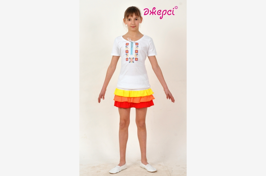T-shirt with embroidery F1603, Activewear,Clothes for school , Machine embroidery